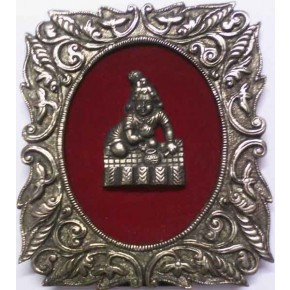Lord Krishna white Metal Frame