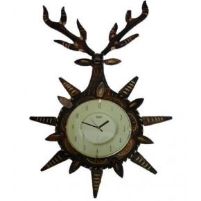 Wooden Antique Wall Clock in Deer Head Design