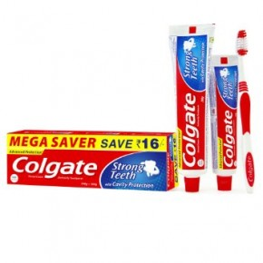 Colgate Strong Teeth Toothpaste Saver Pack - 200 g + 100 g + Toothbrush