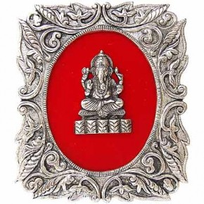 Lord Ganesha - White Metal Frame