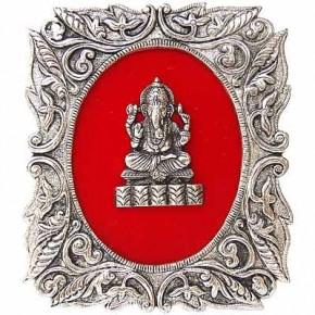 Lord Ganesha - White Metal Frame