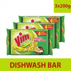 VIM DISHWASH BAR, 200 gm (Pack of 3)