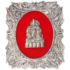 Radha-Krishna - White Metal Frame